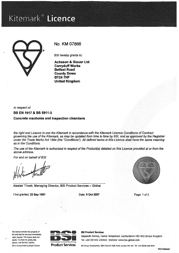 Associated image for the download: Kitemark Licence 07866
