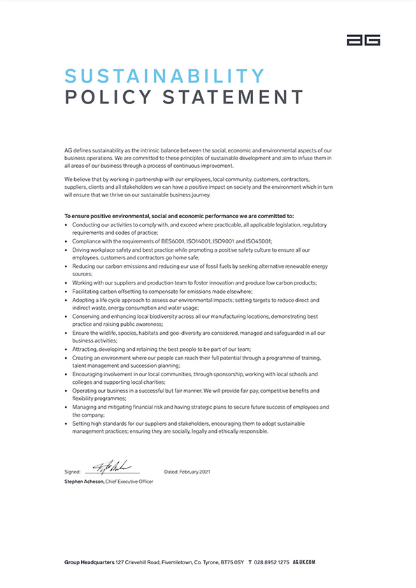 Associated image for the download: Sustainability Policy A4